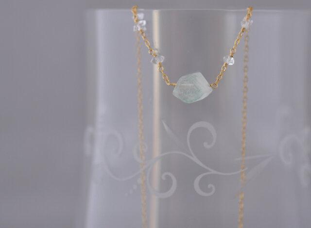 Y様オーダー品 グリーンファントムクォーツとハーキマーダイヤモンド 14kgfネックレスの画像1枚目