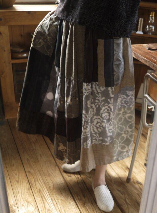 久留米絣反物からギャザースカートの画像1枚目