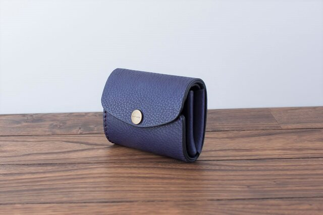 イタリア製牛革の三つ折りピッコロ財布 / パープル※受注製作の画像1枚目