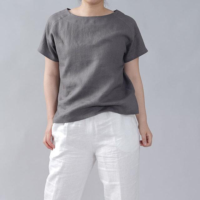 【wafu】やや薄地 リネン Tシャツ リネンブラウス 男女兼用 ユニセックス 半袖/鈍色(にびいろ) t038f-nib1の画像1枚目