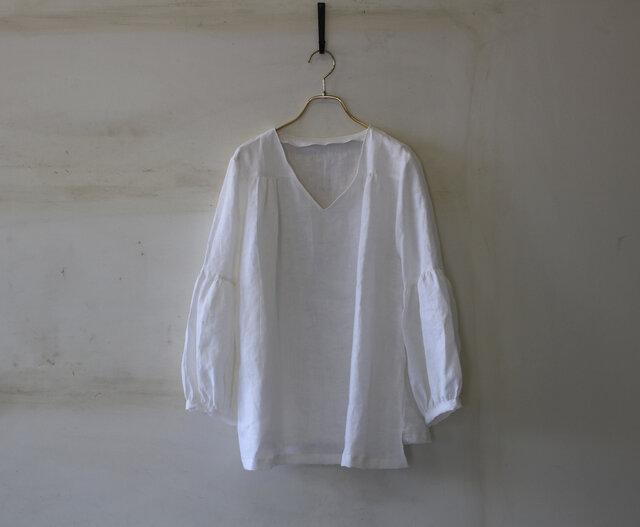 【今夏に!】ギャザー袖チュニック french linen100% whitelinen 【受注生産】の画像1枚目