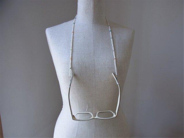 ミックスカラー天然石・淡水のネックレス&グラスコードの画像1枚目