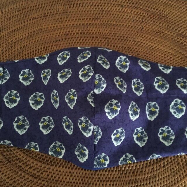冷感生地使用夏用立体マスク 綿プロバンス柄布帛紺系Lの画像1枚目