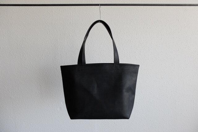 【受注製作】レザートートバッグ black <S横長>の画像1枚目