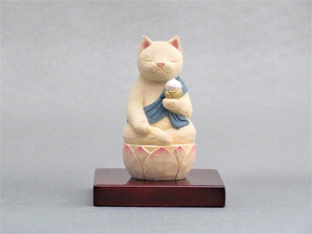 木彫り 虚空蔵菩薩猫 猫仏2005の画像1枚目