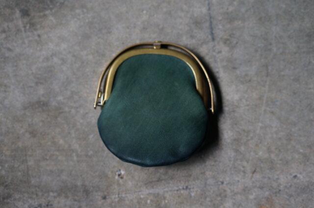 ワンタッチOPEN真鍮がまぐちコインケース#手塗りLEATHER-greenの画像1枚目