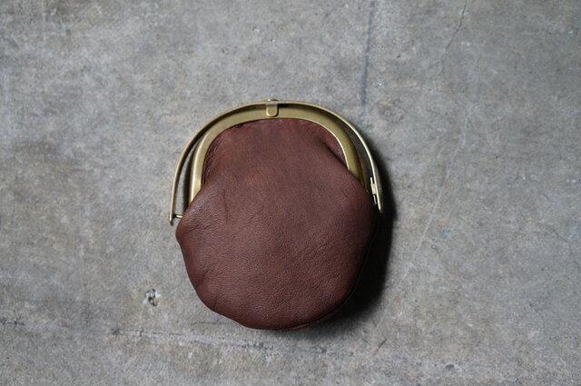 ワンタッチOPEN真鍮がまぐちコインケース#手塗りLEATHER-brownの画像1枚目