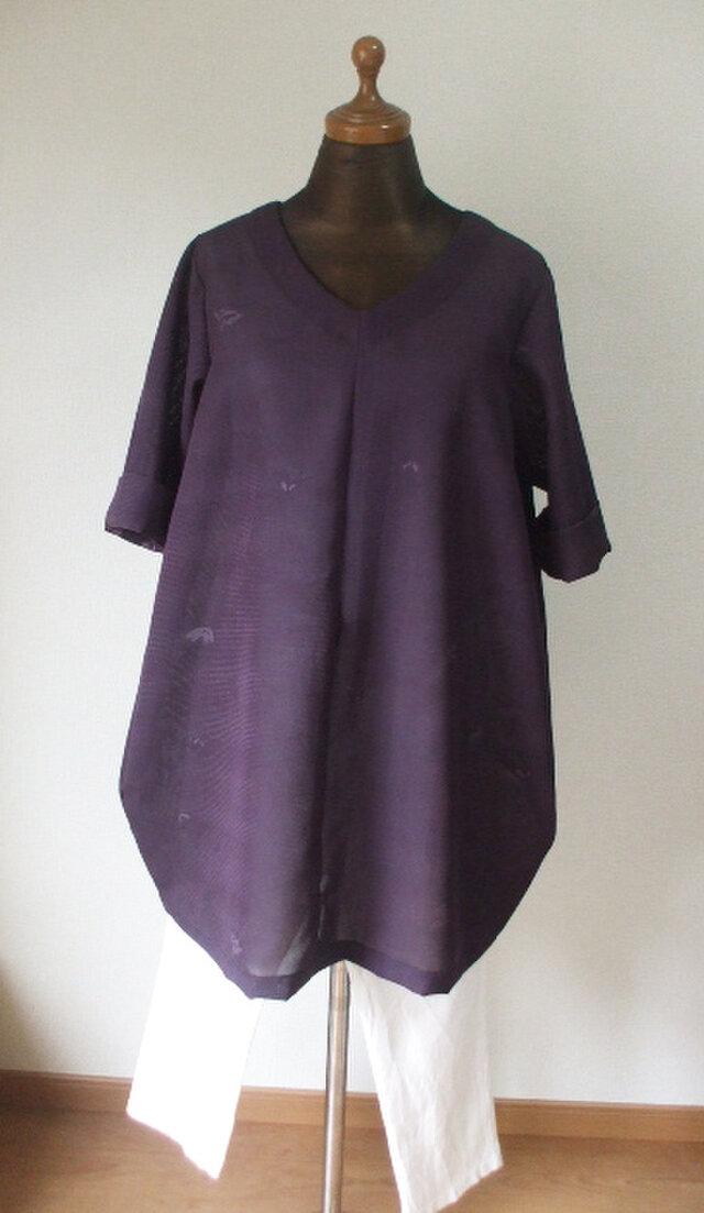 絽(夏用着物)からバルーンチュニック 絹の画像1枚目