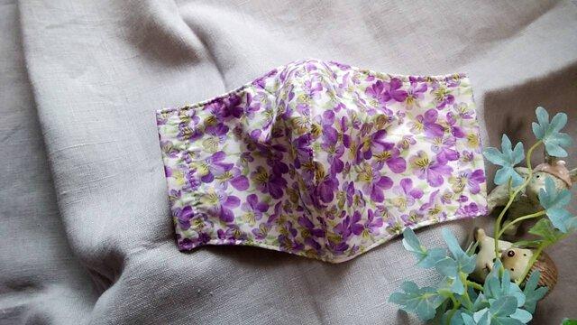 送料無料✴淡い紫のビオラ柄リバティプリント使用✴の画像1枚目