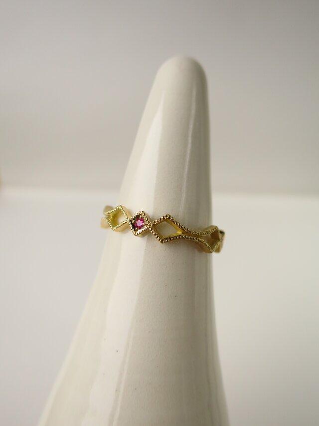 K18 Pink sapphire Sword Ringの画像1枚目