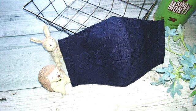 送料無料✴大人可愛いネイビーの刺繍レース生地のマスクです✴の画像1枚目