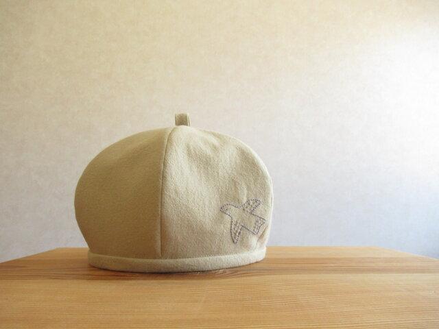 鳥さんの刺繍、ベレー帽 ベージュのコットンリネンの画像1枚目