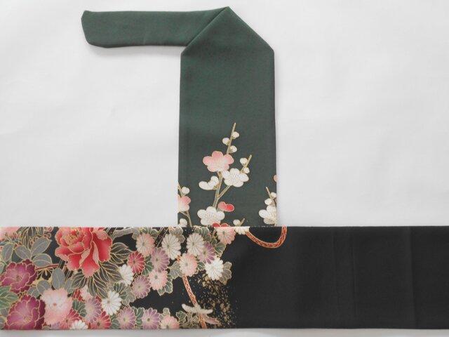 弓巻き 深緑×黒 正絹の画像1枚目