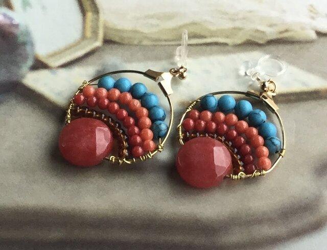 赤と青のエキゾチックピアス(イヤリング)の画像1枚目
