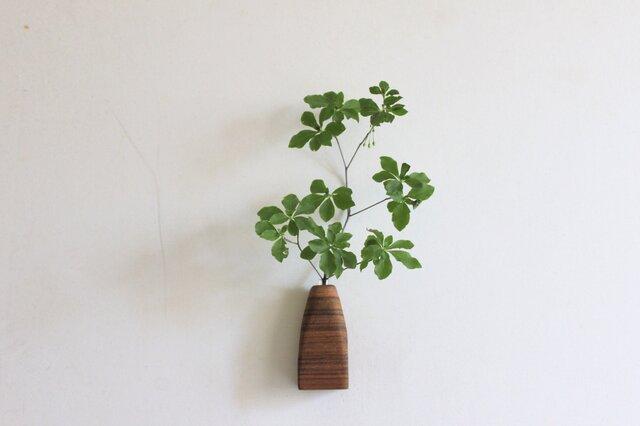 壁にくっつく木の花瓶【チーク】の画像1枚目