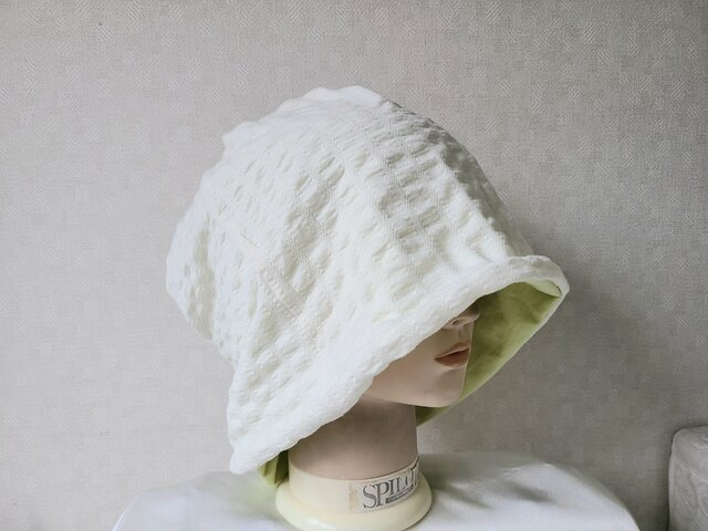 魅せる帽子☆ゆるゆるかなり大きめ!!4wayワッチキャップ~オフホワイト&イエローグリーンの画像1枚目