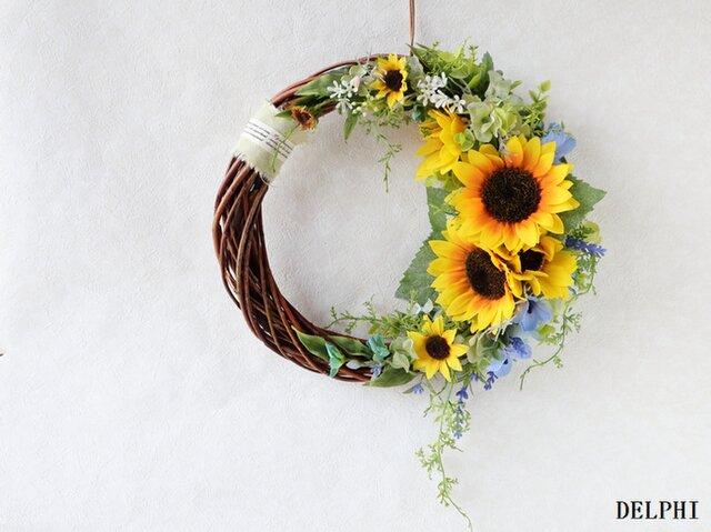 ひまわりと小花の三日月リース【アーティフィシャルフラワー】お誕生日祝い 開店祝い 新築祝いの画像1枚目