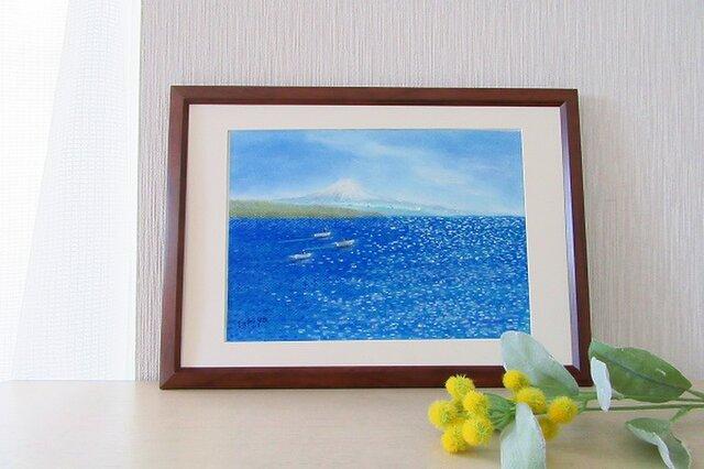 青い風景(送料無料 パステル画/額入り)の画像1枚目