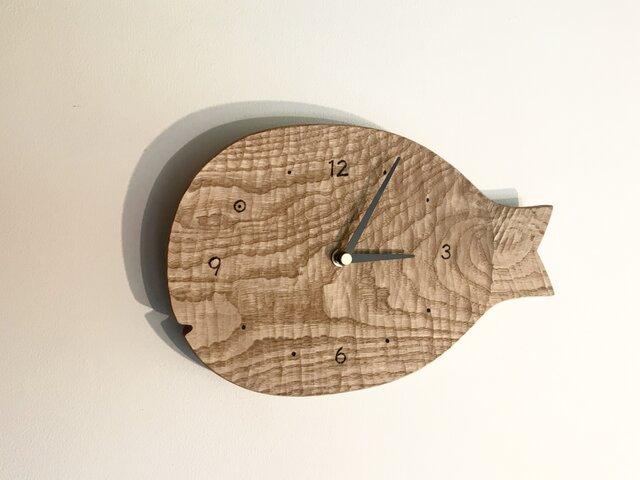 受注制作 魚の壁掛け時計 L クリ 栗の画像1枚目