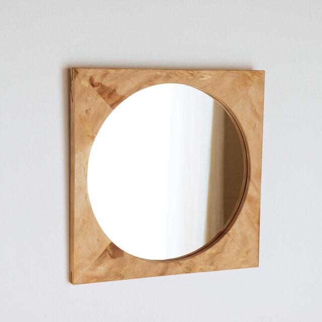 木製 鏡「四角に丸」樺(カバ)材2 ミラーの画像1枚目
