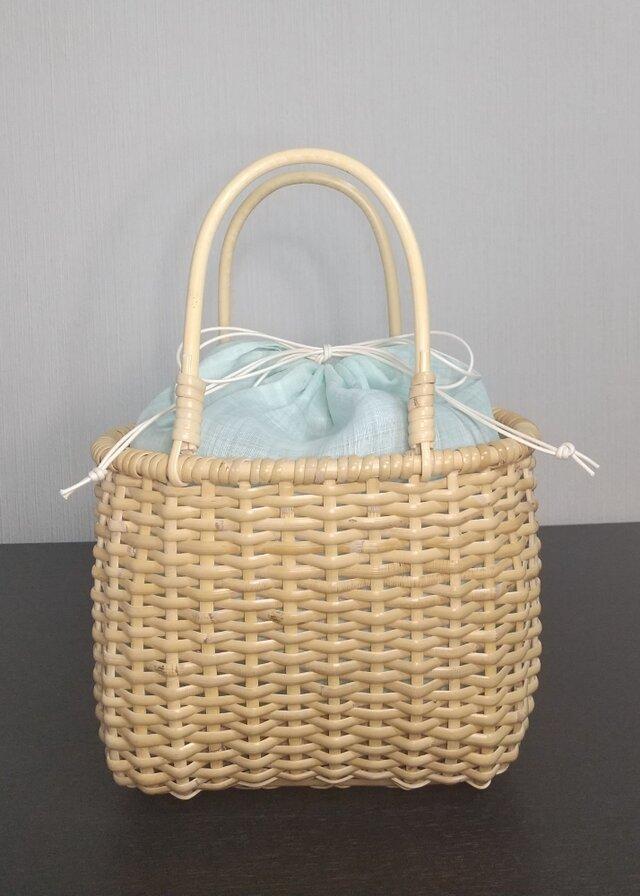 皮籐のかごバッグ(内巾着袋/薄いミントグリーン)の画像1枚目