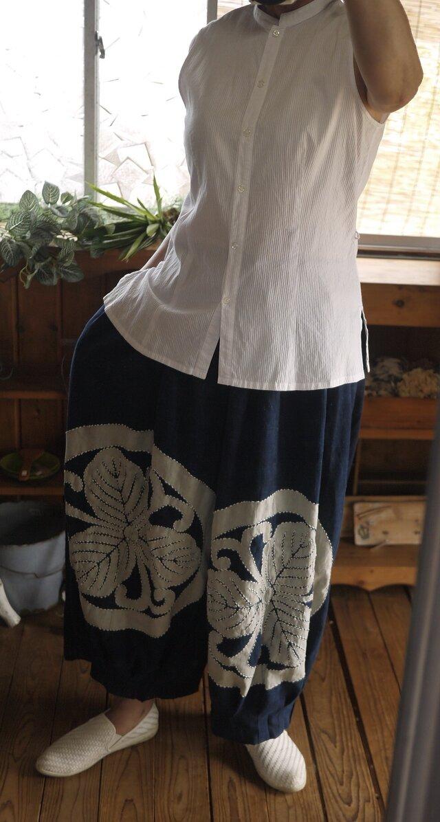 古布家紋パンツスカートの画像1枚目