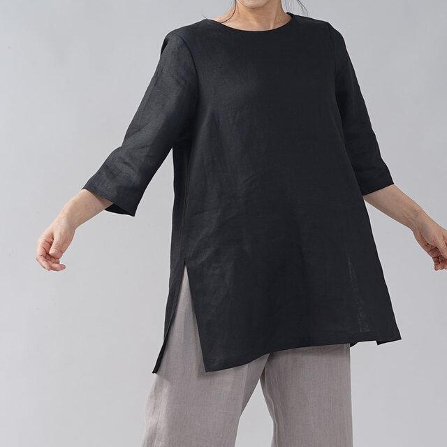 【wafu入門編】数量限定 薄地 リネンブラウス リネントップス ロング丈 7分袖 丸首/ブラック t014b-bck1の画像1枚目