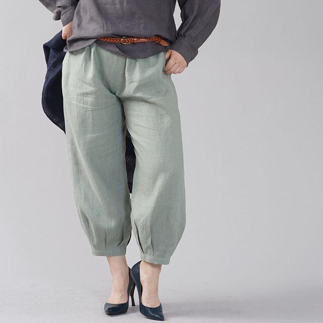【wafu】やや薄地 リネン パンツ 裾タック リネンボトムス ヨガパンツにも/青磁鼠(せいじねず) b013a-snz1の画像1枚目