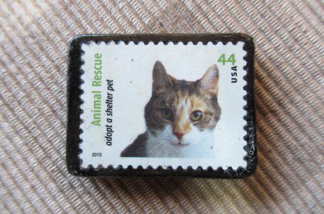 アメリカ 猫切手ブローチ 6312の画像1枚目