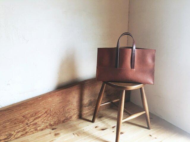 【受注製作品】『tosca』革袋 chestnuts brown M 外縫いの画像1枚目