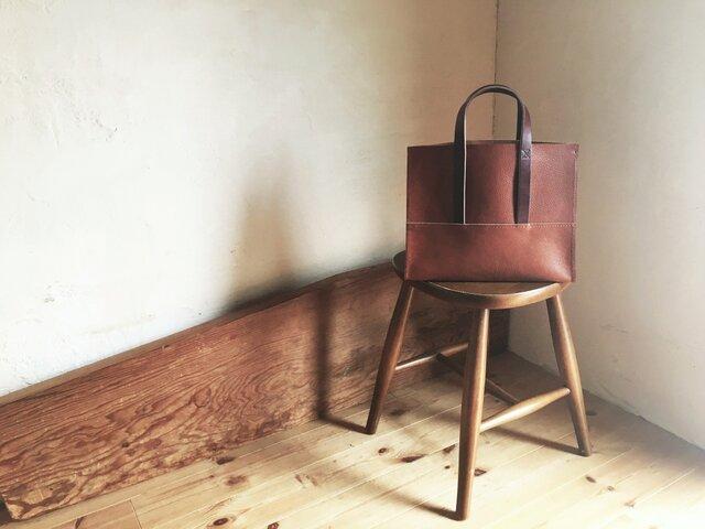 【受注製作品】『tosca』革袋 chestnuts brown S 外縫いの画像1枚目