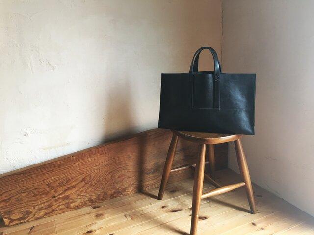 【受注製作品】『tosca』革袋 black  M 外縫いの画像1枚目
