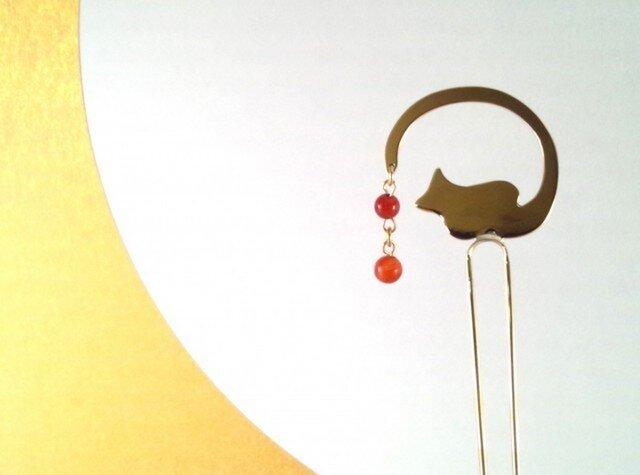 猫 真鍮・瑪瑙(めのう)かんざしの画像1枚目