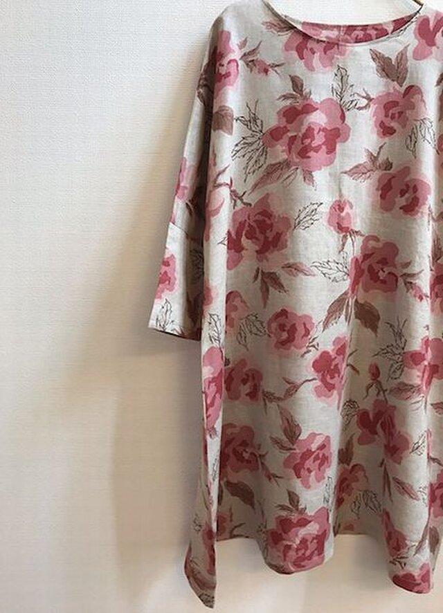 リネン100 おしゃれなワンピース bloom 薔薇 (ピンク)の画像1枚目