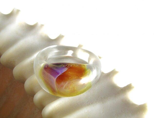 ガラスリング ピンクアンバー 17.5号の画像1枚目