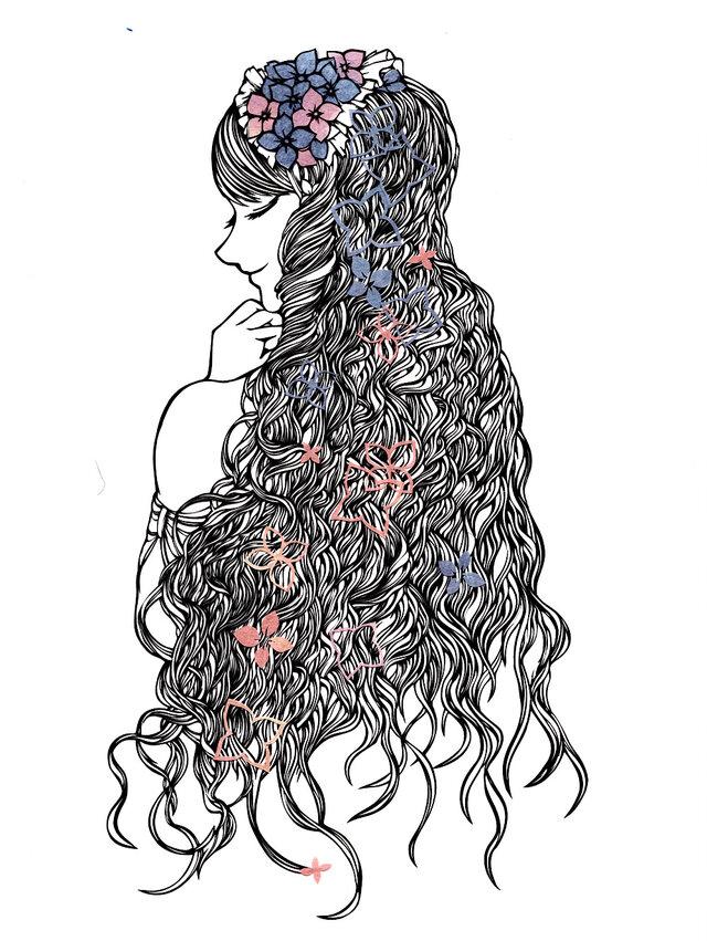 額装済み切り絵作品・紫陽花姫の画像1枚目