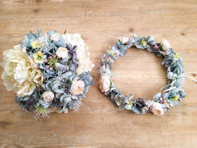 ブルーグレーのシックな花冠&ブーケ2点セットの画像1枚目