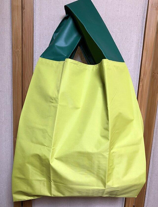 傘生地エコバック黄緑 内ポケット収納タイプ(大)の画像1枚目