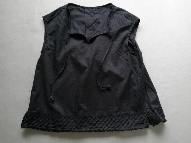 ◆綿ローン・フレンチスリーブ&カットフリンジ / ダークネイビーの画像1枚目
