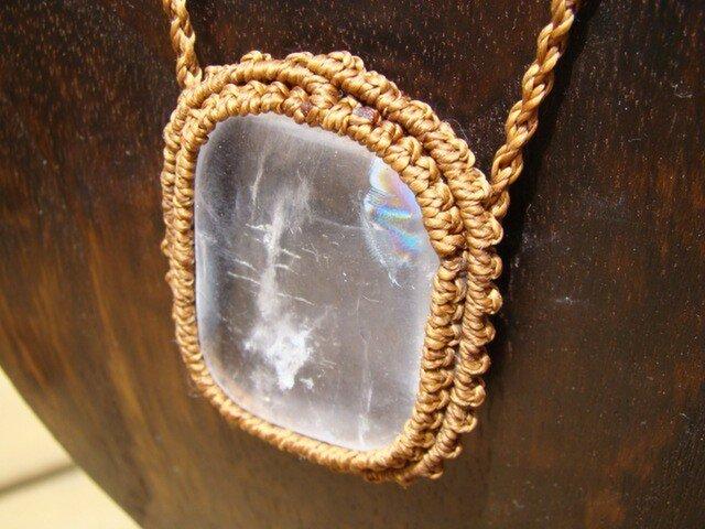 天然石 大粒水晶 マクラメ編みネックレスの画像1枚目