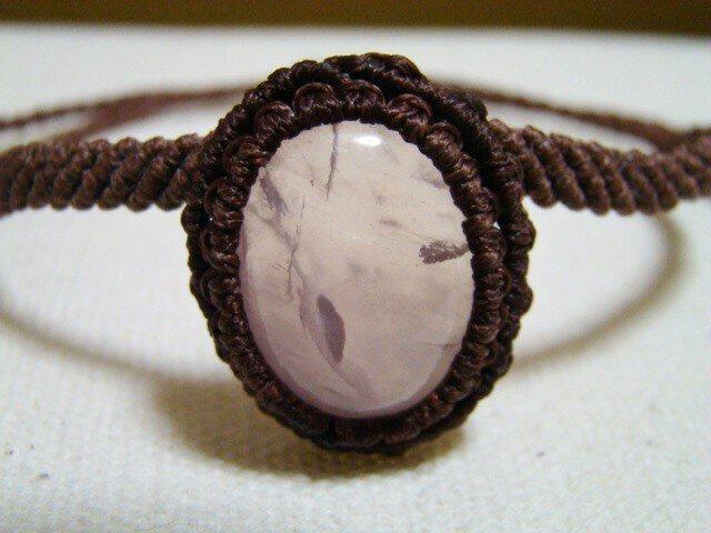 天然石ローズクォーツ マクラメ編みアンクレット兼ブレスレットの画像1枚目