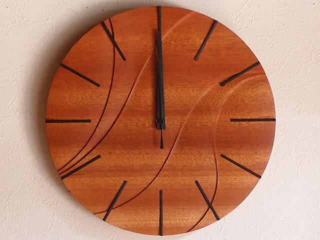 無垢の木の電波掛け時計 サペリ 0005の画像1枚目