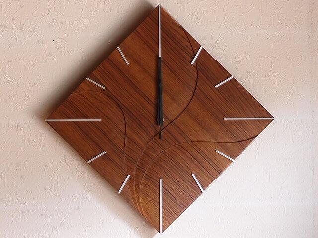 無垢の木の電波掛け時計 チーク 0028の画像1枚目