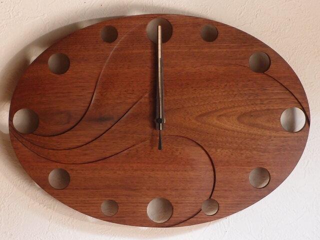 無垢の木の電波掛け時計 ブラックウォールナット 0053の画像1枚目