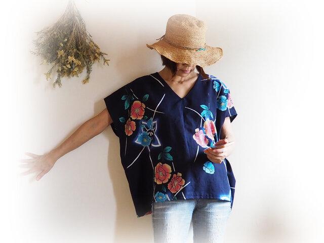[受注制作] 涼しい! ビッグシルエット  濃紺に牡丹と桔梗模様 Vネックフレンチ袖トップス-未仕立ての浴衣からの画像1枚目