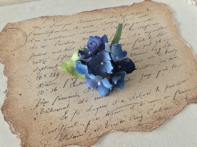 染め花の紫陽花のポニーフック(ブルー)の画像1枚目