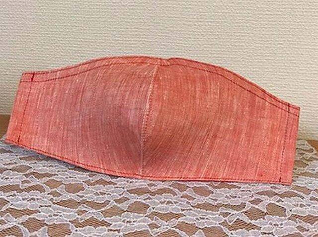 夏用 ベラルーシリネンシャンブレーの立体マスク ノーズワイヤーフィルターポケットついてますの画像1枚目