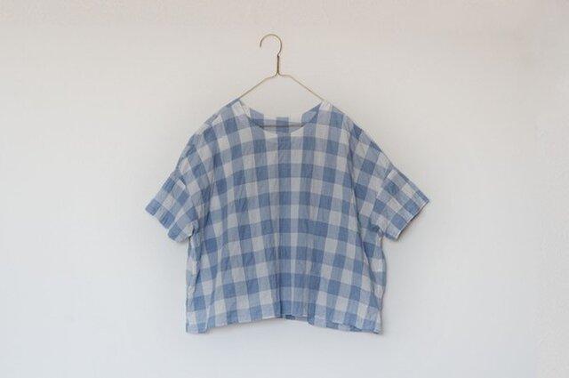 シャーリングシンプルTシャツブラウス ブルーの画像1枚目