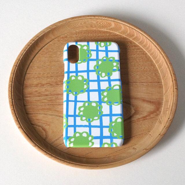 【iPhone/Android】側表面印刷*ハード型*スマホケース「 flower check ( blue ) 」の画像1枚目
