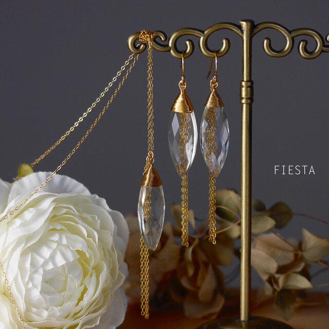 【送料無料セット割】【14kgf】クリスタルとゴールドチェーンのシンプルロングネックレスとピアス(イヤリング変更可)の画像1枚目